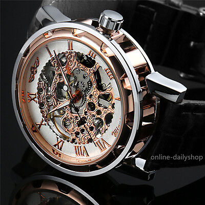 Men Classic Transparent Steampunk Skeleton Mechanical Stainless Steel Watch NEW