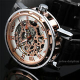 Men's Gold Skeleton Leather Band Analog Wrist Mechanical Stainless Steel Watch