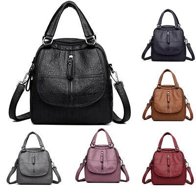 Leder Multi-tasche Rucksack (Damen Multifunktion City-Rucksack Backpack Schultertasche Leder optik Reise Bag)