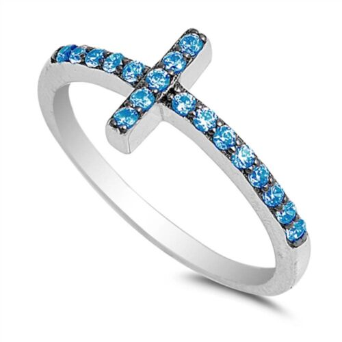 Blue Topaz Sideways Cross .925 Sterling Silver Ring Sizes 4-
