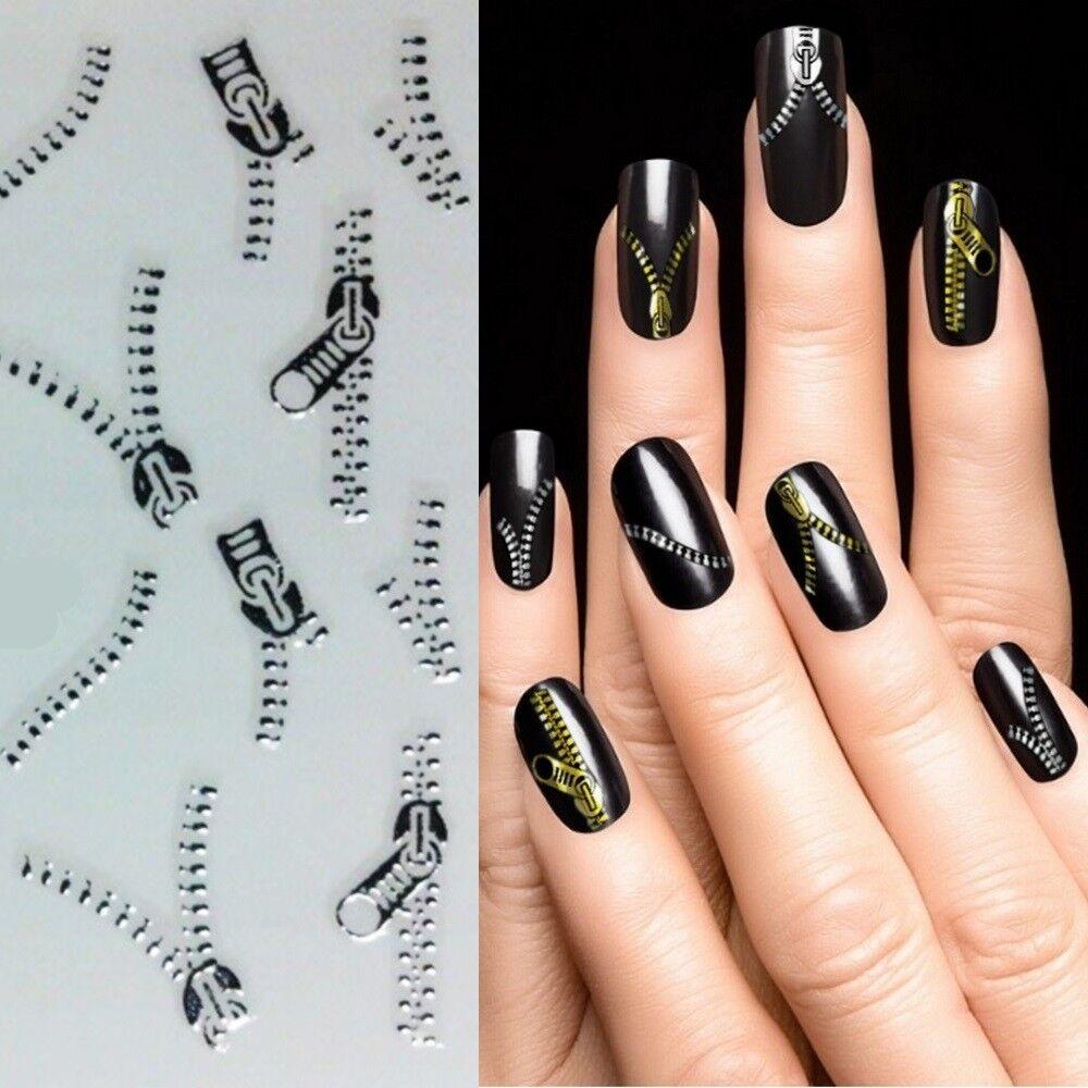 Nagelsticker Silber Reißverschluss Nagel Aufkleber Nailart Tattoo Nails XF6045