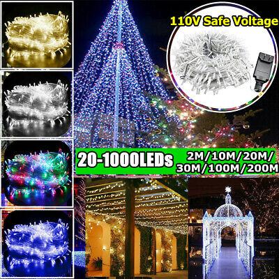 LED Fairy Light String 20-1000LEDs Outdoor Garden Christmas Party Wedding Decor ()