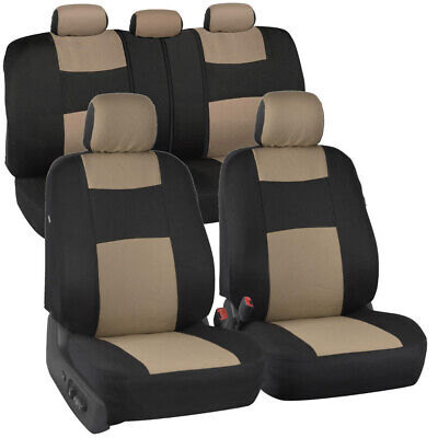 Car Seat Covers - Beige/Black Polyester Cloth Front & Rear Split Bench 9pc Set