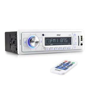 PYLE PLMR18 Marine Stereo Radio Headunit Receiver, Aux Input, USB Flash, Remote Control, Single DIN