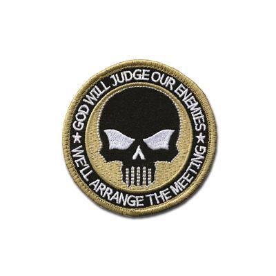 Tactical Combat Jacket Morale Patch Badge EMB Hook and Loop - Skull (Judge) ACU