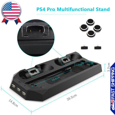 For PS4 Pro Accessories Vertical Stand Cooling Fan with Dual Charging Station US
