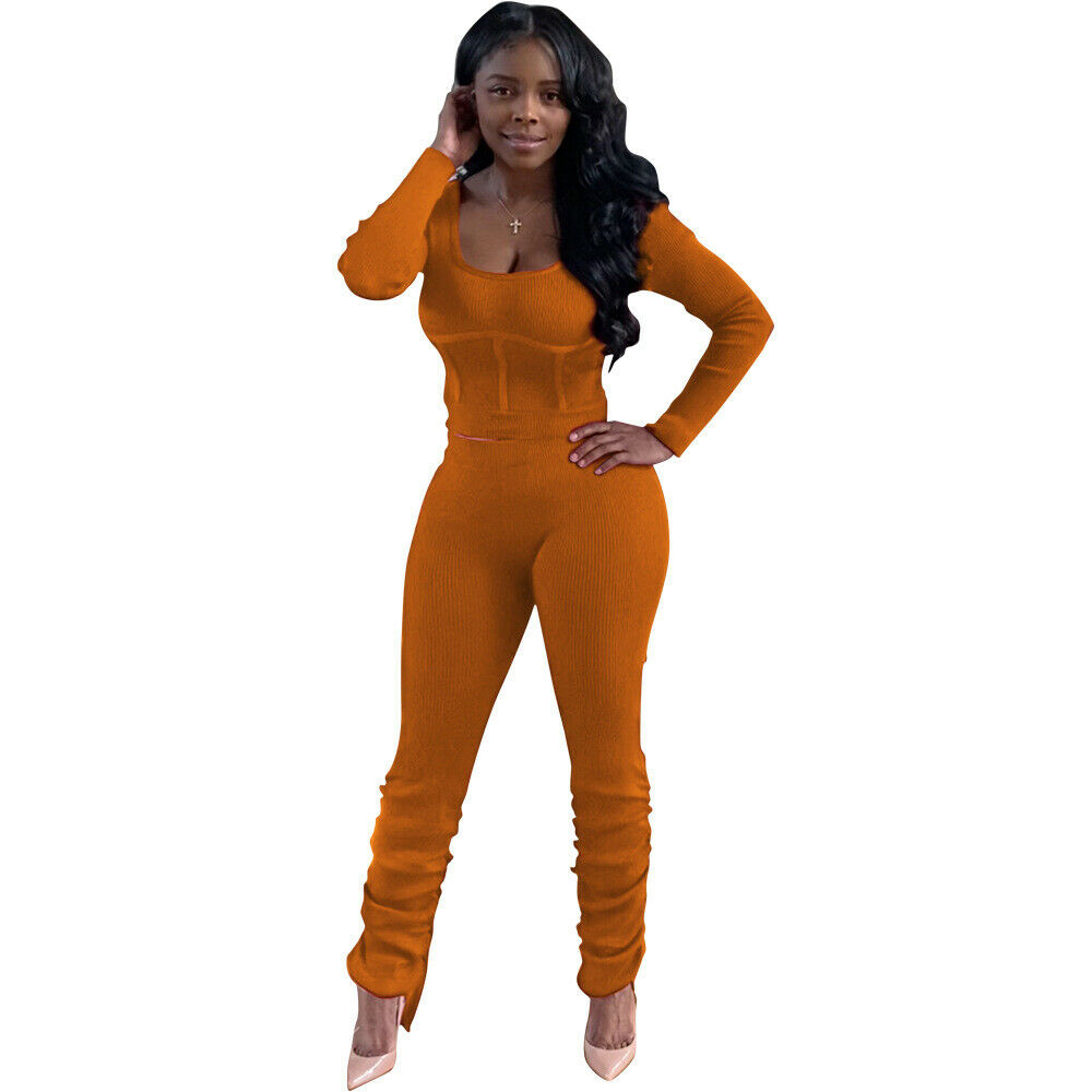 Fall Women Bodycon Solid Color Scoop Neck Long Sleeve Tops Draped Pants Set 2pcs