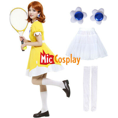 Mario Tennis N64 Princess Daisy Cosplay Costume Dress Yellow Woman Halloween - Yellow Halloween Costume