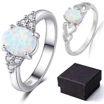 White Fire Opal 925 Sterling Silver Gold Gemstone Jewelry Ring Size 6-10 &Box - Gemstone White Gold Jewelry Box