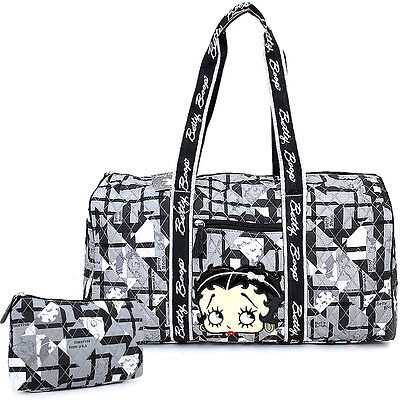 "Betty Boop Quilted Duffle Travel Bag Diaper Gym Bag-Betty Black Checkered 21"" XL"