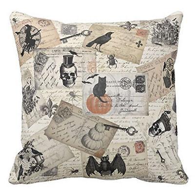 Skull Black Cat Crow Bat Autumn Fall Throw Pillow CoverSham Halloween 18 x - Halloween Cat