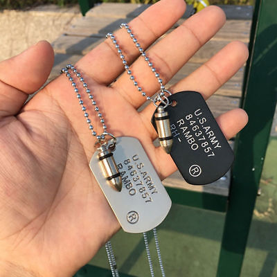 Fashion Men Necklace Soldier Military Dog Tags Ball Chain Army Bullet Pendants](Military Dog Tags For Men)