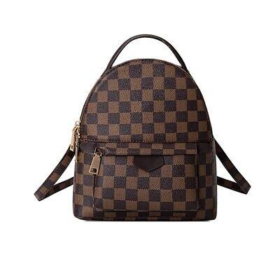 Leather Checkered Small Backpack Fashion Mini Purse Shoulder Bag Handbag Brown Backpack Brown Leather Handbags