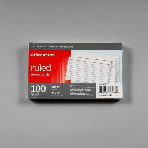 "Office Depot® Brand Index Cards, 3"" x 5"", Ruled, White, 100"