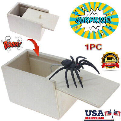 Halloween Box Scare (US Halloween Wooden Prank Spider Scare Box Hidden in Case Trick Horror Toy)