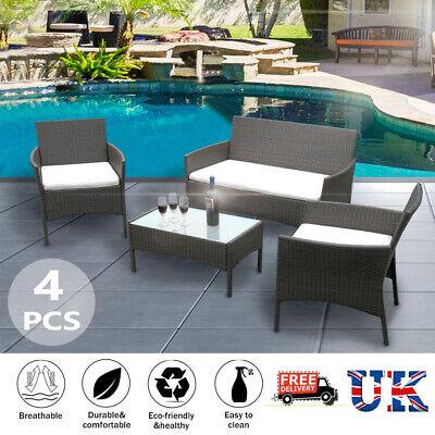 Garden Furniture - Rattan Garden Furniture 4Pc Set Conservatory Patio Outdoor Table Chairs Black UK