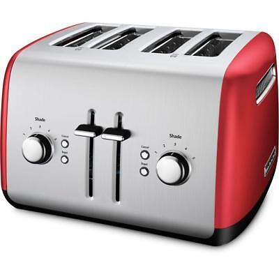 4-Slice Red Silver Toaster With 5-Setting Button Manual High-Lift Lever Crisper