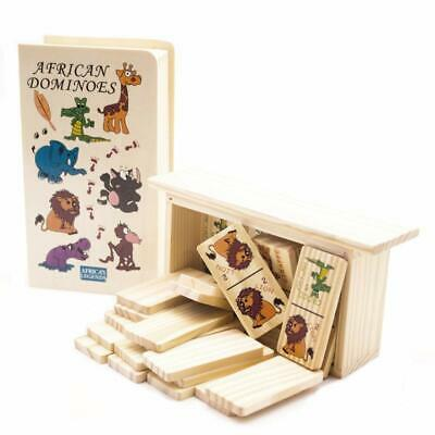 Educational Toy Dominoes for Kids and Toddlers, Hand-painted Wooden Dominoes Set