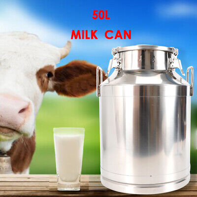 40l Milk Can Wine Pail Bucket Tote Jug Stainless Steel In One Piece With Lid