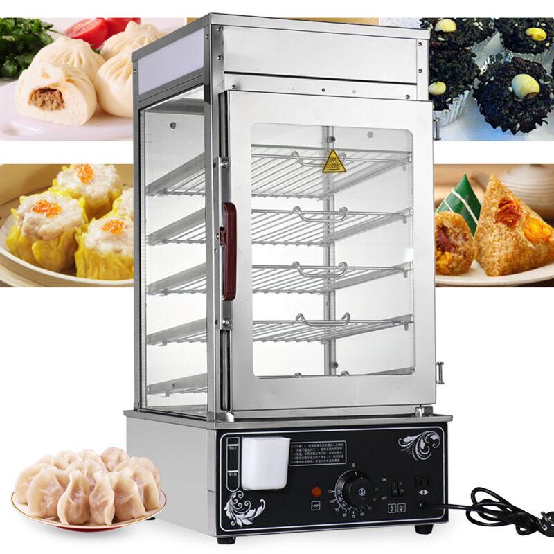 5-Layer Food Display rack Commercial Bun Steamer Warmer Cooker Stainless Steel