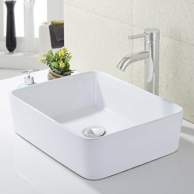 KES Bathroom Rectangular Porcelain Vessel Sink Above Counter White Countertop...