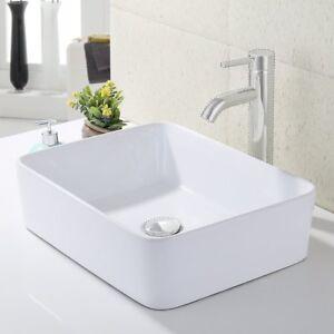 KES Bathroom Rectangular Porcelain Vessel Sink Above Counter White  Countertop.