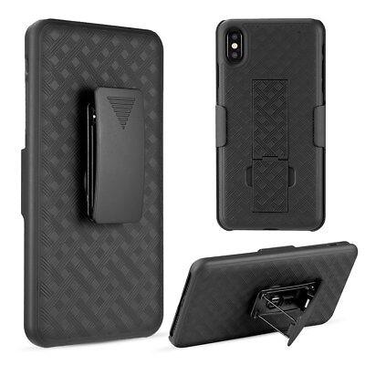"iPhone XS Max 6.5"" - HARD COMBO HOLSTER KICKSTAND CASE COVER w/ BELT CLIP BLACK segunda mano  Embacar hacia Argentina"