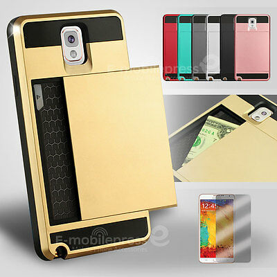 Card Pocket Slide ShockProof Slim Wallet case cover Samsung Galaxy Note 3 4 5 9 (Samsung Galaxy Note 4 Wallet Case)