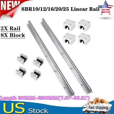 2x Sbr12162025 Linear Rail Guide L200-2200mm Slide Shaft Rod8x Bearing Block