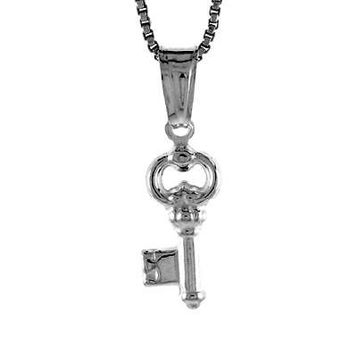 Small Pendant Box - Sterling Silver Small Key Pendant / Charm, Made in Italy,18
