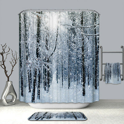 Winter Snow Decorations (Forest Shower Curtain - Winter Snow on Trees Bath Curtains Decor Set +12)