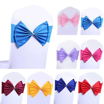10/20/30x Stretch Spandex Chair Sashes Sash Band Buckle Bow Wedding Party Décor