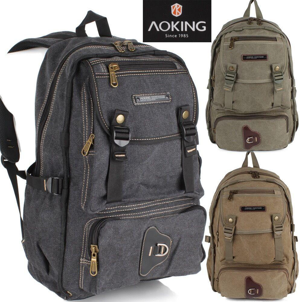 Rucksack Daypack Reise Wander Schul Tasche Canvas Stoff AOKING Backpack Outdoor