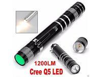 1200LM Cree Q5 LED Mini Flashlight Pen Light High Power Torch AA Lamp Light Clip