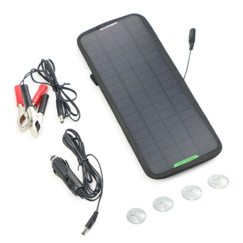 Portable Solar Panel 12V 5W Battery Charger System Maintainer Marine Boat RV Car