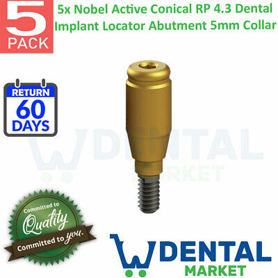 X 5 Nobel Active Conical Rp 4.3 Dentai Implant Locator Abutment 5mm Collar