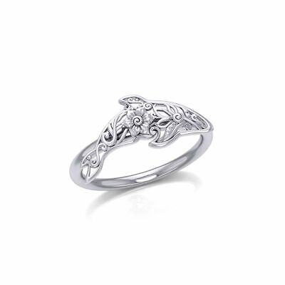 Orca Whale Filigree Floral Sterling Silver Ring by Peter Stone Jewelry  ()