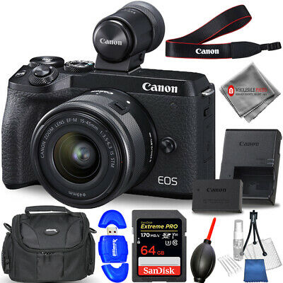Canon EOS M6 Mark II Digital Camera with 15-45mm + EVF-DC2 Viewfinder + 64GB Kit
