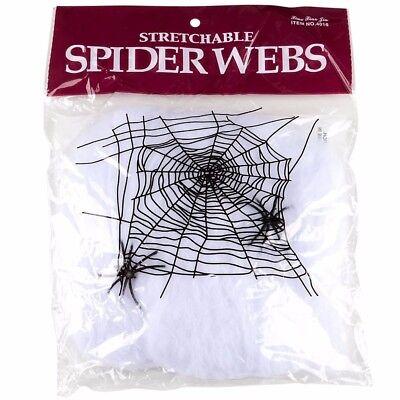 1 Bag of Stretchable Spider Web Webbing Cobweb Halloween Prop + 2 Fake Spiders](Fake Spider Webs Halloween)