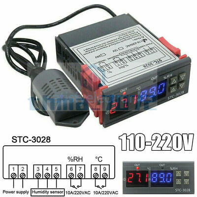 Stc-3028 Ac110-220v Dual Digital Temperature Humidity Controller Thermostat