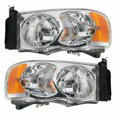 FOR DODGE RAM PICK UP TRUCK 2002 2003 2004 2005 HEADLIGHTS RIGHT & LEFT PAIR