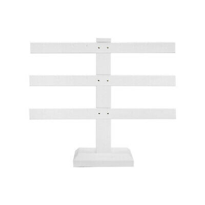10 X 9 White Faux Leather 3 Bars Earring Stand Display Jewelry Showcase