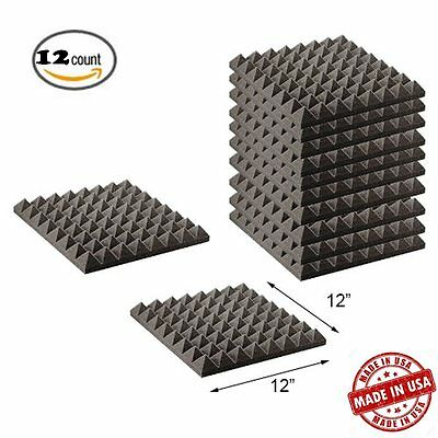 12 Pack Pyramid Acoustic Wedge Studio Soundproofing Foam Wall Tiles 12 X12 X2
