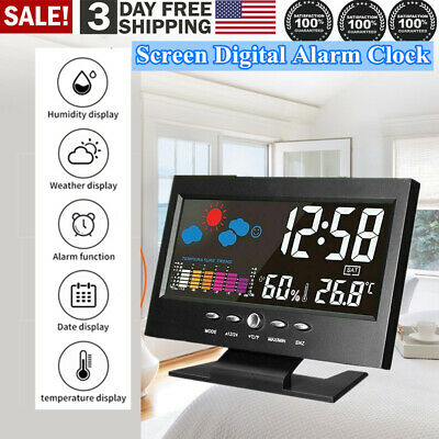 New Led Digital Alarm Snooze Clock Calendar Thermometer Weather Color Display Us
