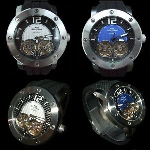 NEW-SIRIUS-AUTOMATIC-MENS-VAAN-KONRAD-DUAL-OPEN-HEART-WATCH-WHITE-OR-BLUE-DESIGN