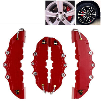 3D Red 2 Pairs Style Car Disc Brake Caliper Covers Front & Rear Accessories