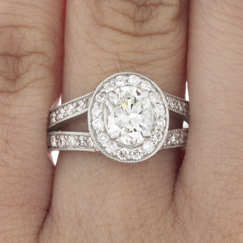 GIA Certified Diamond Engagement Halo Ring 1.40 CTW Oval Shape 18k White Gold