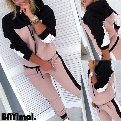 Womens Hooded Sweatshirt Long Pants Set Ladies Sports Tracksuit Lounge Wear Suit