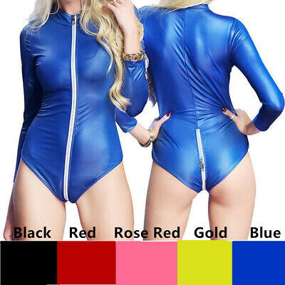 etlook Kunstleder Zip Bodysuit PU Leder Overall Kostüm S-3XL (Bodysuit Kostüm)