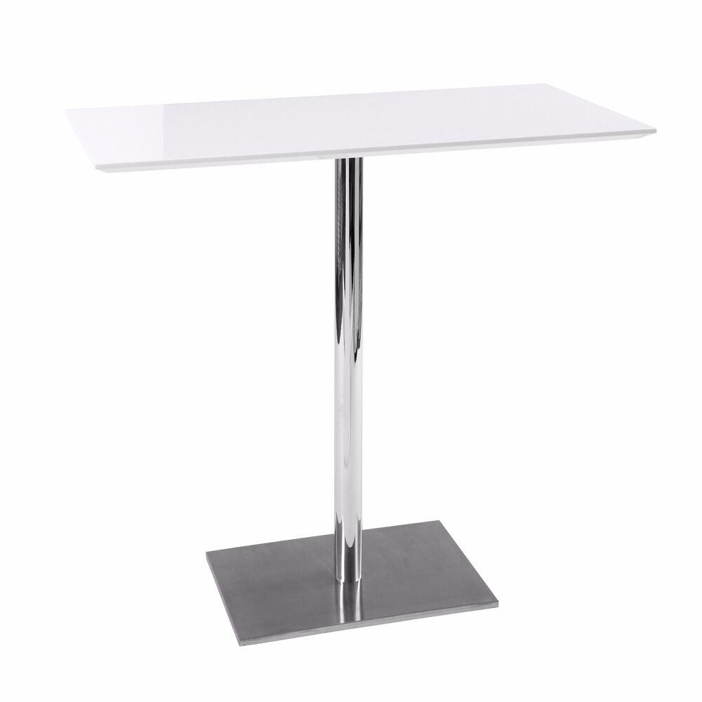 Dwell White High Gloss Bar Table Plus 3 Black Stools